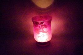 Windlicht Glas Ornament lila XXL