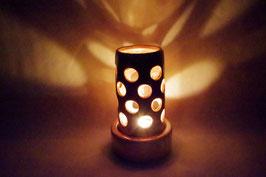 Windlicht  Keramik Zylinder Rosa Kreise
