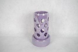 Windlicht  Keramik Zylinder Lila Kreise