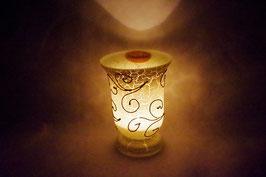 Windlicht Glas Ornament Weiß