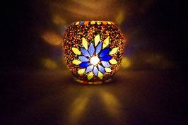 Mosaik Windlicht Sonne Blau-Grün