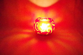 Windlicht Glas Ornament rot