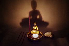 Windlicht Keramik Buddha Gold Set mit Duft Stäbchen