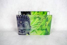 Windlicht Buddha aus Glas mit zwei Teelichterhalter