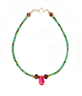Bracelet en Turquoise, Quartz rose et Grenat