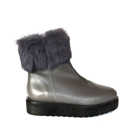 Leather Fur Boot gray