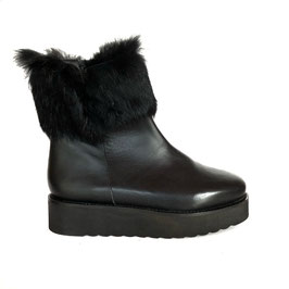 Leather Fur Boot black