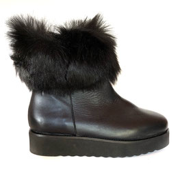 Leather Fur Boot pearl-black