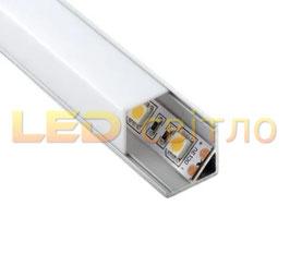 Профиль для светодиодной ленты угловой ЛПУ-16 с квадратным рассеивателем 1м (комплект анодированный)