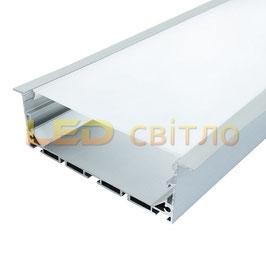 Профиль для светодиодной ленты врезной ЛСВ-100 1м (комплект анодированный)