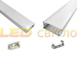 Профиль для светодиодной ленты накладной широкий 1м (комплект анодированный)