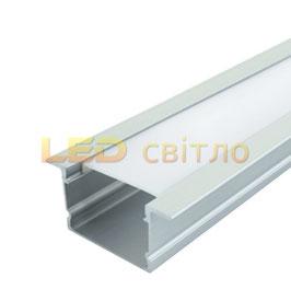 Профиль для светодиодной ленты врезной ЛПВ-20 1м (комплект анодированный)