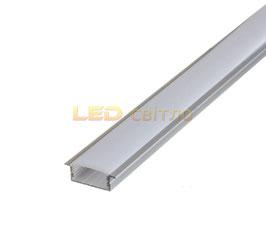 Профиль для светодиодной ленты врезной широкий 1м (комплект анодированный)