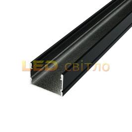 Профиль для светодиодной ленты накладной ЛП-20 черный 1м (комплект анодированный)