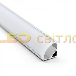 Профиль для светодиодной ленты угловой ЛПУ-16 с круглым рассеивателем 1м (комплект анодированный)