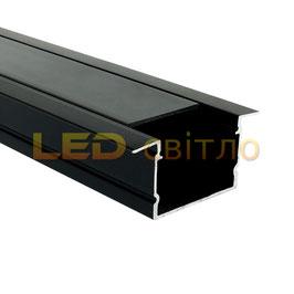 Профиль для светодиодной ленты врезной ЛПВ-20 черный 1м (комплект анодированный)