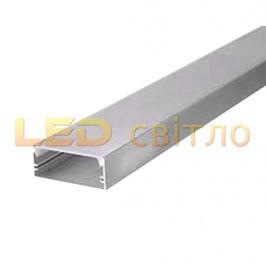 Профиль для светодиодной ленты накладной широкий 50мм 1м (комплект анодированный)