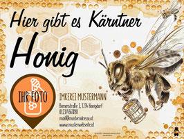 """Hoftafel für Imker """"mit individuellem Textfeld und Honigglasfoto"""""""