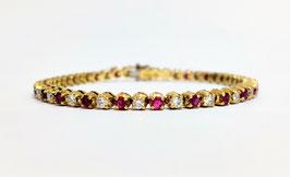 Bracelet or rivière rubis et diamants