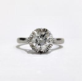 Bague solitaire diamant or blanc