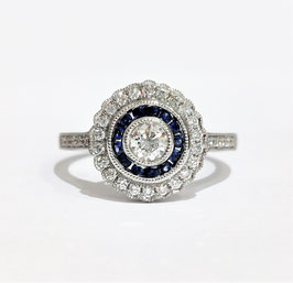 Bague style art déco saphirs et diamants