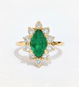 Bague marquise or jaune émeraude et diamants