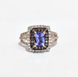 Bague or rose Tanzanite et diamants