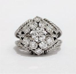 Bague platine années 60 diamants