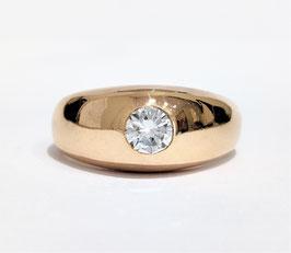 Bague jonc anglais or jaune diamant
