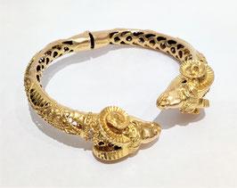 Bracelet or jaune têtes de béliers