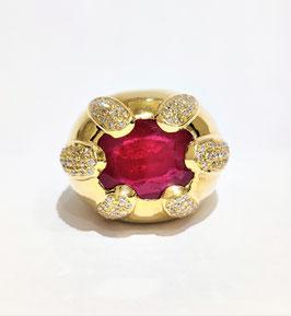 Bague jonc or jaune rubis et diamants