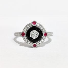 Bague style art déco diamants, onyx et rubis