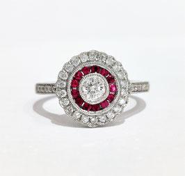 Bague style art déco rubis et diamants
