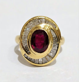 Bague or jaune tourbillon rubis et diamants