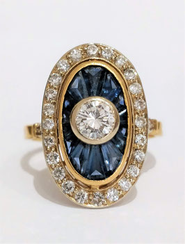 Bague marquise ovale or jaune saphirs et diamants