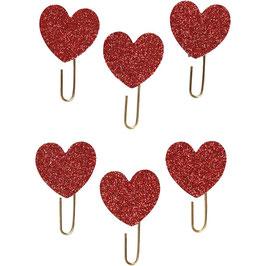 Papier-Klammern aus Metall rot mit Glitter Herz