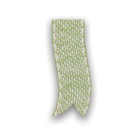 Zweifarbiges Baumwollband grün-weiß 25mm - 5 Meter