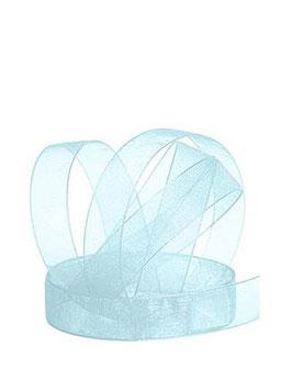 Chiffonband hellblau mit Webkante, 15mm, 5 Meter