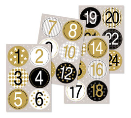 Adventskalender-Zahlen Goldfolie Sticker