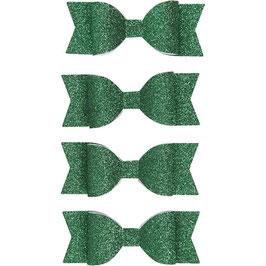 Papierschleifen Glitzer grün - 4 Stück