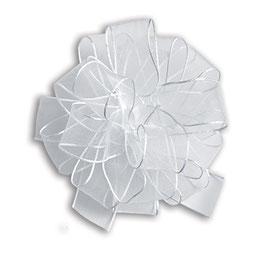 Fertigschleife Pom-Pom weiß  - 5 Stück