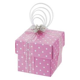 Geschenkschachtel Dots rosa Quadrat mit Deckel, 10 Stück