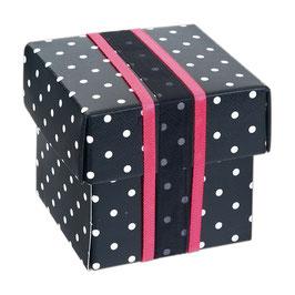 Geschenkschachtel Dots schwarz Quadrat mit Deckel