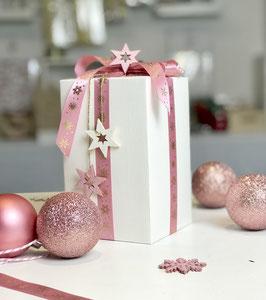 Satinband rosa mit goldenen Schneeflocken - 5 Meter