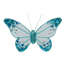 Organza Schmetterling mit Clip in türkis