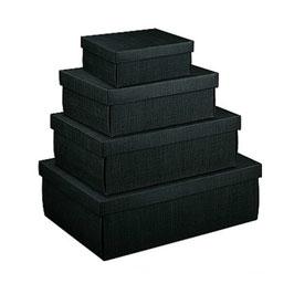 Große Geschenkbox mit Deckel schwarz - 38x26x11 cm