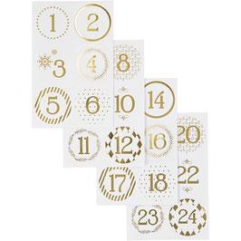 Adventskalender Zahlen Sticker weiß mit Goldfolie
