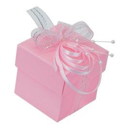 Geschenkschachtel rosa Quadrat mit Deckel, 10 Stück