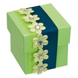 Geschenkschachtel grün Quadrat, 10 Stück