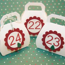24 Adventskalender Schachteln Handtasche weiß